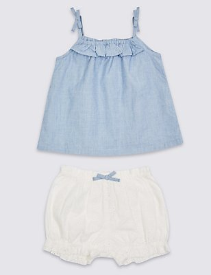2 Piece Pure Cotton Top & Shorts Outfit, MED BLUE DENIM, catlanding