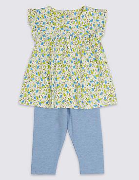 2 Piece Top & Leggings Outfit, CREAM MIX, catlanding