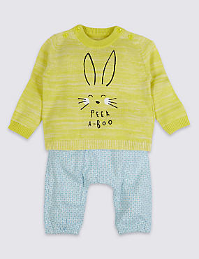 2 Piece Jumper & Trousers Outfit, YELLOW MIX, catlanding