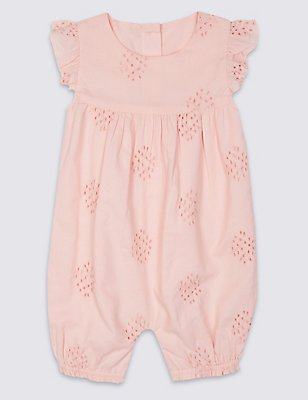Pure Cotton Broderie Frill Romper, LIGHT PINK, catlanding