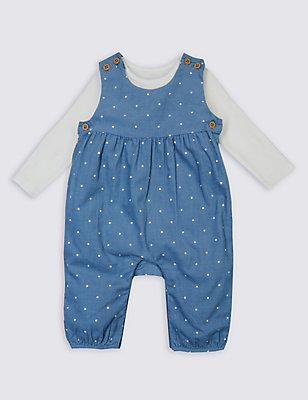 2 Piece Dungarees & Bodysuit Outfit, CHINA BLUE, catlanding