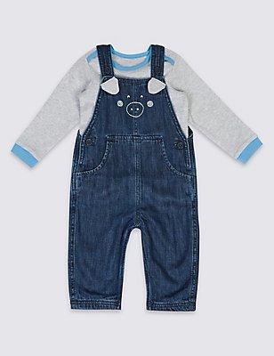 2 Piece Pure Cotton Bodysuit & Dungarees Outfit, BLUE DENIM, catlanding