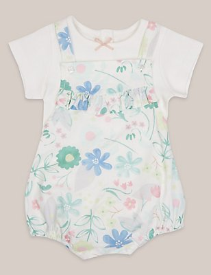 2 Piece Pure Cotton Printed Dungarees & Bodysuit Outfit, WHITE MIX, catlanding