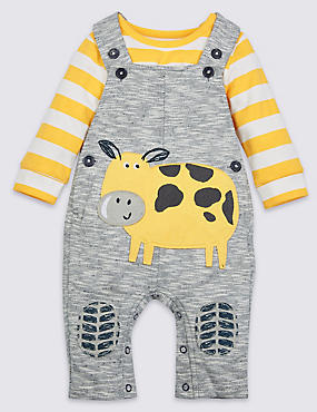 2 Piece Pure Cotton Dungarees & Bodysuit Outfit, GREY MARL, catlanding