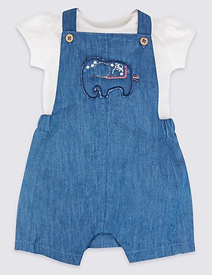 2 Piece Pure Cotton Dungarees & Bodysuit Outfit, CHAMBRAY, catlanding