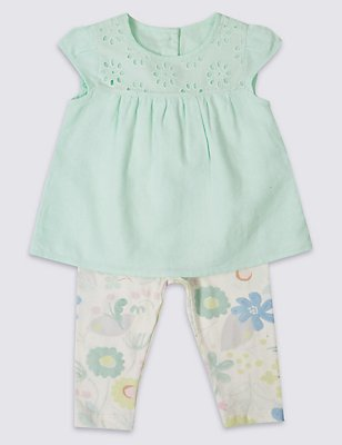 2 Piece Top with Leggings Outfit, LIGHT GREEN MIX, catlanding