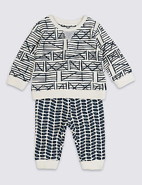 2 Piece Pure Cotton Printed Outfit , NAVY MIX, catlanding