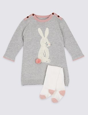 2 Piece Bunny Knitted Dress with Tights, PINK, catlanding