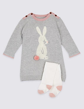2 Piece Bunny Knitted Baby Dress with Tights, PINK, catlanding