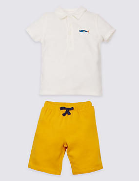 2-delige katoenrijke outfit van badstof met poloshirt en korte broek, GEEL MIX, catlanding