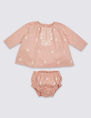 2 Piece Pure Cotton Embroidered Outfit, PINK MIX, catlanding