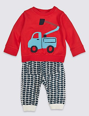 2 Piece Applique Truck Jersey Outfit, RED MIX, catlanding