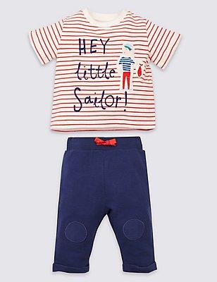 2 Piece Little Sailor Top & Bottom Outfit, BLUE MIX, catlanding