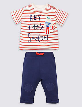 2 Piece Little Sailor Top & Bottom Outfit, BLUE MIX, catlanding