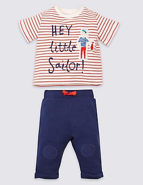 2-delige 'Little sailor'-outfit met truitje en broekje, BLAUW MIX, catlanding