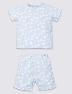 2 Piece Cotton Rich Top & Shorts Outfit, BLUE MIX, catlanding