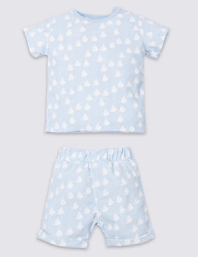 2 Piece Cotton Rich Top & Shorts Outfit, BLUE MIX, catlanding