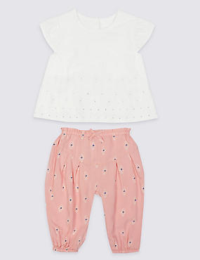 2 Piece Woven Top & Trousers Outfit  , PINK MIX, catlanding
