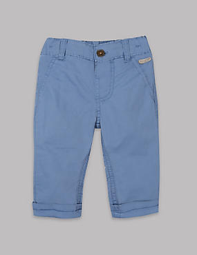 Pure Cotton Trousers, BLUE, catlanding