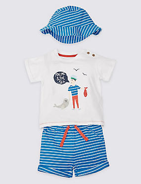 Conjunto de 3 piezas de pantalón corto y camiseta 100% algodón con gorro, MEZCLA DE TONOS AZULES, catlanding
