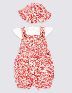3 Piece Dungarees & Bodysuit with Hat Outfit, RED MIX, catlanding