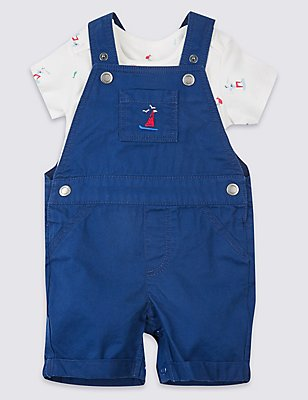 Pure Cotton Bodysuit & Dungarees Outfit, BLUE MIX, catlanding