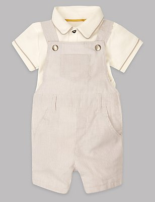 2 Piece Pure Cotton Dungaree & Bib Short Outfit, GREY MIX, catlanding