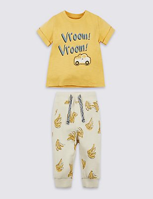 2 Piece Pure Cotton Printed Outfit, YELLOW MIX, catlanding