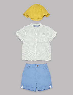 3 Piece Pure Cotton Shirt and Shorts with Hat Outfit , BLUE MIX, catlanding