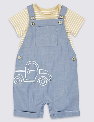 2 Piece Bodysuit & Dungarees Outfit, CHAMBRAY, catlanding