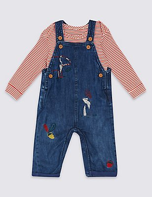 2 Piece Bear Embroidered Dungarees & Bodysuit, DENIM, catlanding
