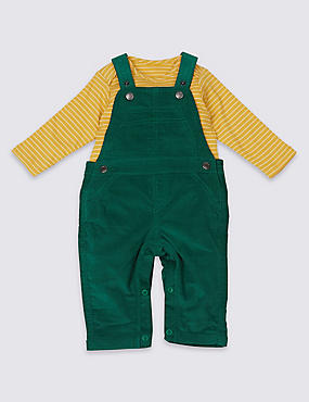 2 Piece Pure Cotton Bodysuit & Cord Dungarees Outfit, HOLLY, catlanding