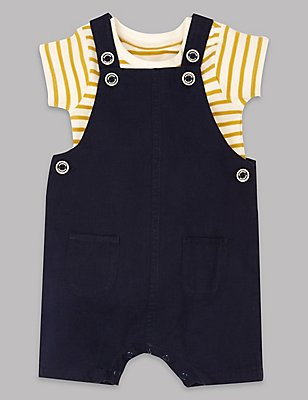 2 Piece Cotton Rich Dungaree & Bodysuit Outfit, NAVY MIX, catlanding