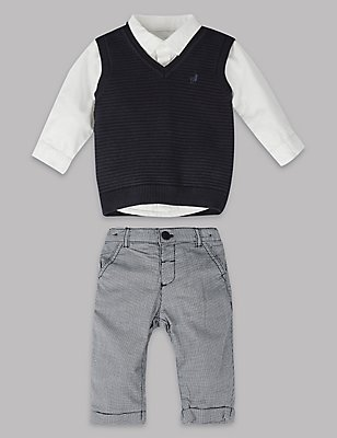3 Piece Pure Cotton Top & Sweater with Trousers, NAVY MIX, catlanding