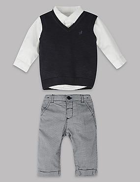 3-delige zuiver katoenen outfit met top en sweater met broek, MARINE MIX, catlanding