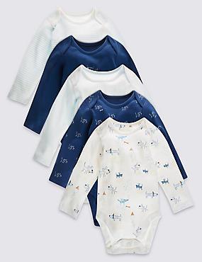 5 Pack Pure Cotton Boys Layette Long Sleeved Bodysuits, BLUE MIX, catlanding