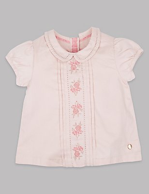 Pure Cotton Embellished Top, PALE PINK, catlanding