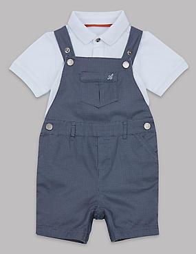 2 Piece Pure Cotton Bodysuit & Dungarees Outfit, MID BLUE, catlanding