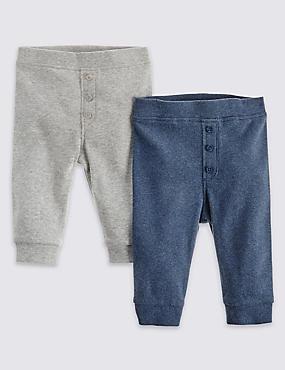 2 Pack Cotton Rich Ribbed Leggings, GREY MIX, catlanding