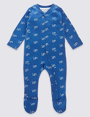 Pure Cotton Dog Print Sleepsuit, NAVY MIX, catlanding