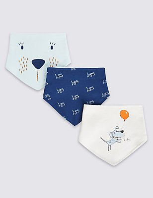 3 Pack Pure Cotton Dribble Bibs, NAVY MIX, catlanding