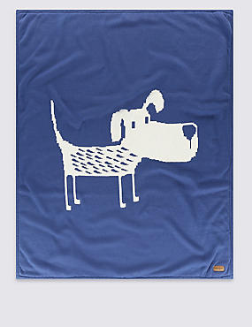 Pure Cotton Dog Knitted Shawl, BLUE MIX, catlanding