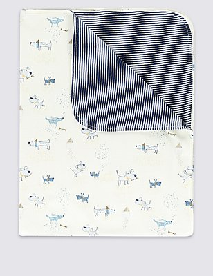 Pure Cotton Dog Print Shawl, BLUE MIX, catlanding