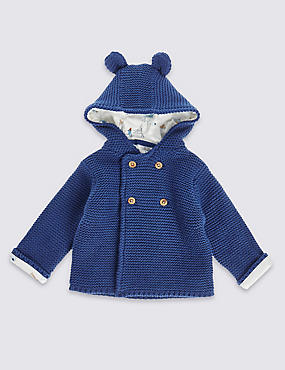 Pure Cotton Hooded Chunky Cardigan, NAVY, catlanding