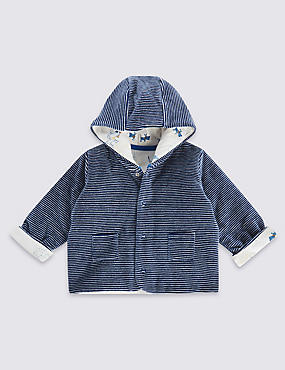 Cotton Rich Hooded Velour Striped Jacket, NAVY MIX, catlanding