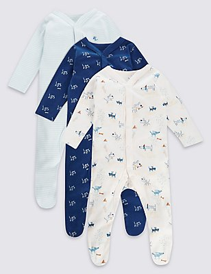 3 Pack Boys Layette Dog Sleepsuits, BLUE MIX, catlanding