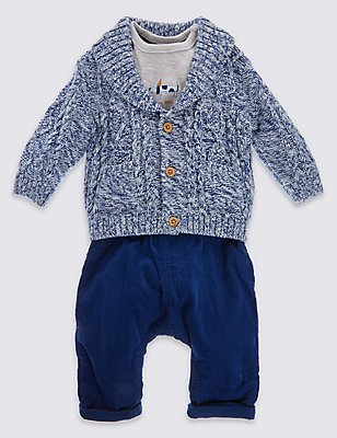 3 Piece Cardigan with T-Shirt & Trousers Outfit, NAVY MIX, catlanding