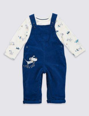 Комплект из чистого хлопка для мальчика: боди с длинным рукавом и вельветовый комбинезон с вышивкой