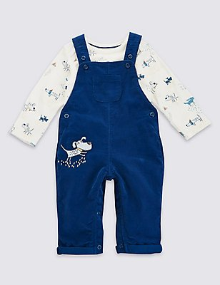2 Piece Pure Cotton Applique Dungarees & Bodysuit Outfit, NAVY, catlanding