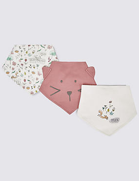 3 Pack Pure Cotton Dribble Bibs, WHITE MIX, catlanding